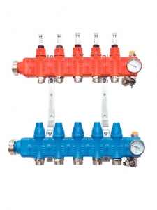 Коллектор пластиковый SRTZTP PP-GF с термостатическими клапанами и расходомерами