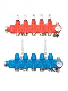 Коллектор пластиковый SRTZTP PP-GF с термостатическими клапанами и расходомерами 5 выходов 375/405/100 мм
